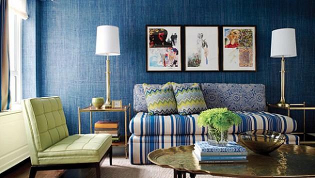 niebieski salon  30 niezwykłych projektów niebieskich salonów 25 PROJEKT  W NIEBIESKI SALON 1